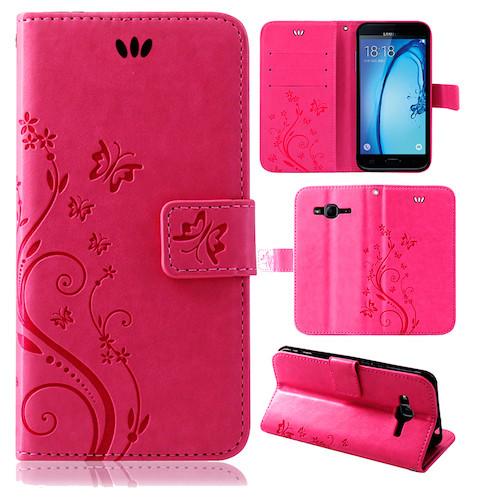 Samsung-Handy-Tasche-Handyhuelle-Schutz-Huelle-Blumen-Flip-Cover-Buch-Case-Etui Indexbild 150