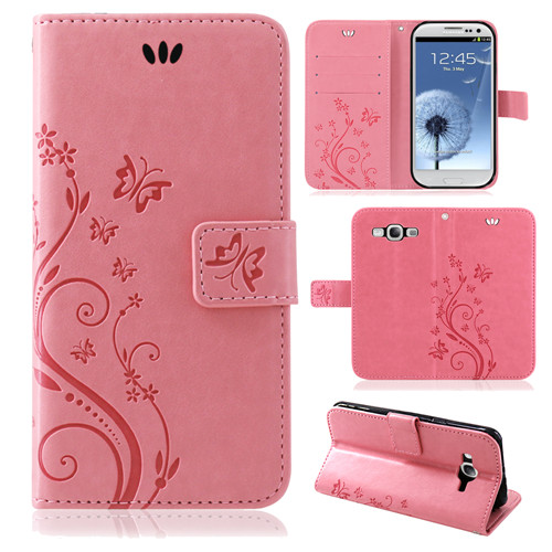 Samsung-Handy-Tasche-Handyhuelle-Schutz-Huelle-Blumen-Flip-Cover-Buch-Case-Etui Indexbild 17