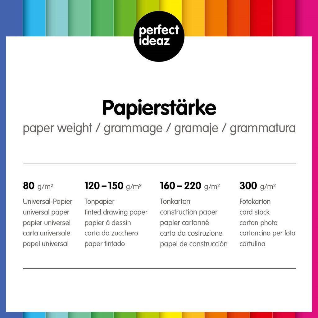 Bastel Pappe perfect ideaz 100 Blatt A4 Tonpapier weiß 130g Papier zum Basteln