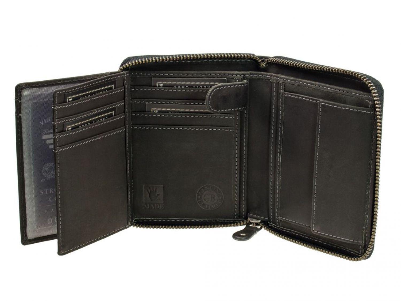 c463cdfea2834 Greenburry Vintage Leder Reißverschluss Kombibörse 821A-BL-20 Schwarz.  Diese Reißverschluss Geldbörse aus der Serie Vintage ist fürs Leben gemacht  und wird ...