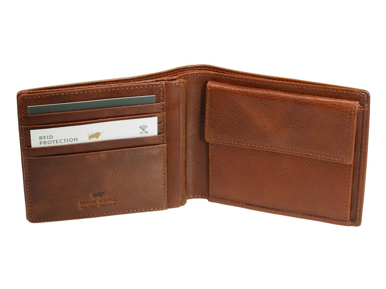 b51a20182b300 Braun Büffel Arezzo Leder Geldbörse RFID Schutz Tabak Braun Portemonnaie