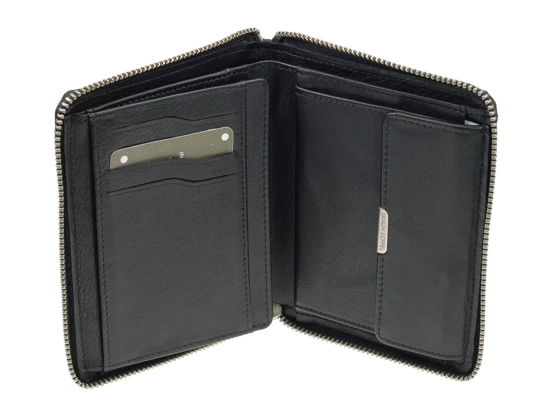 46f2c38cfc259 Braun Büffel Golf Leder Reißverschluss Geldbörse Schwarz Portemonnaie  Geldbeutel