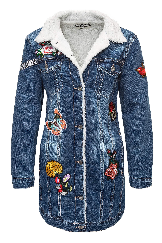 Hailys damen winterjacke jeansjacke mit patches oversize look color mix sale ebay - Jeansjacke damen oversize ...