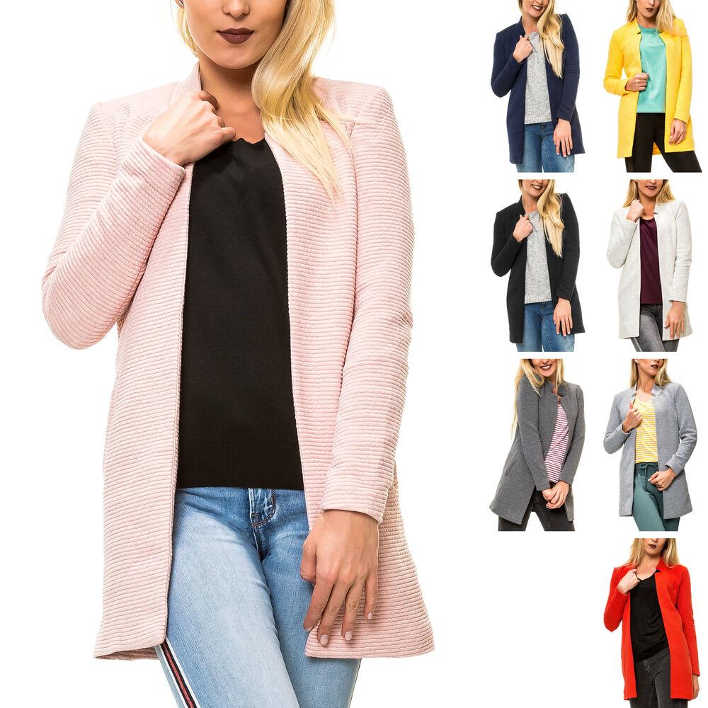 Details zu Only Damen Kurzmantel Long Blazer mit Melange Optik Damenmantel Mantel Business