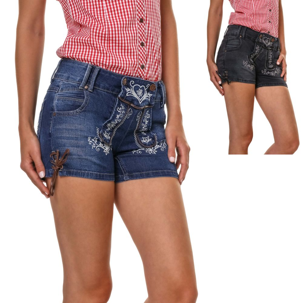 Details zu Hailys Damen Trachten Shorts Jeansshorts Denim Look Lederhose Oktoberfest Wiesn