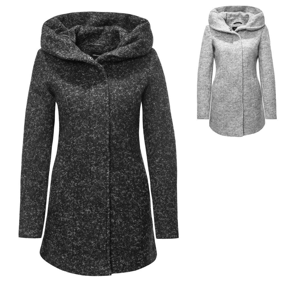 Vero Moda Damen Wollmantel Kurzmantel mit Kapuze Damenmantel Mantel Melange