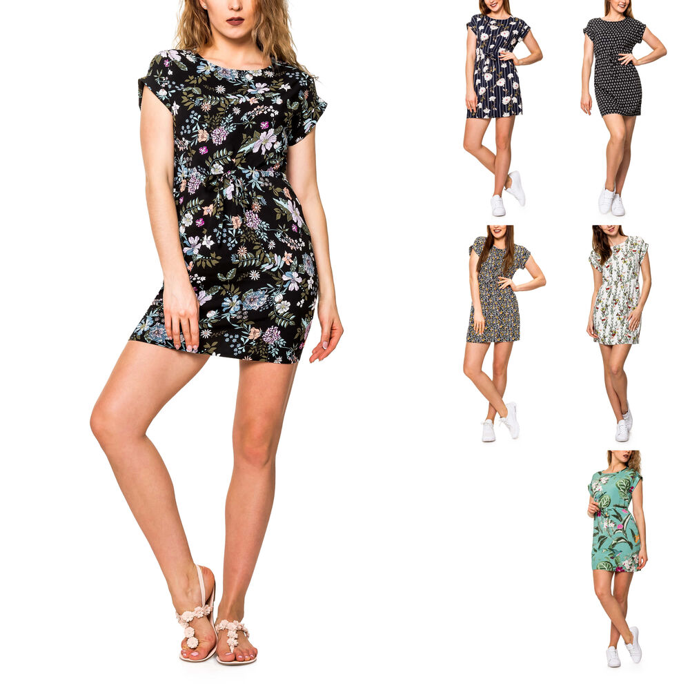 Vero Moda Damen Jersey-Etuikleid Shirtkleid Kleid 3//4 Short Dress Schwarz Weiß /%
