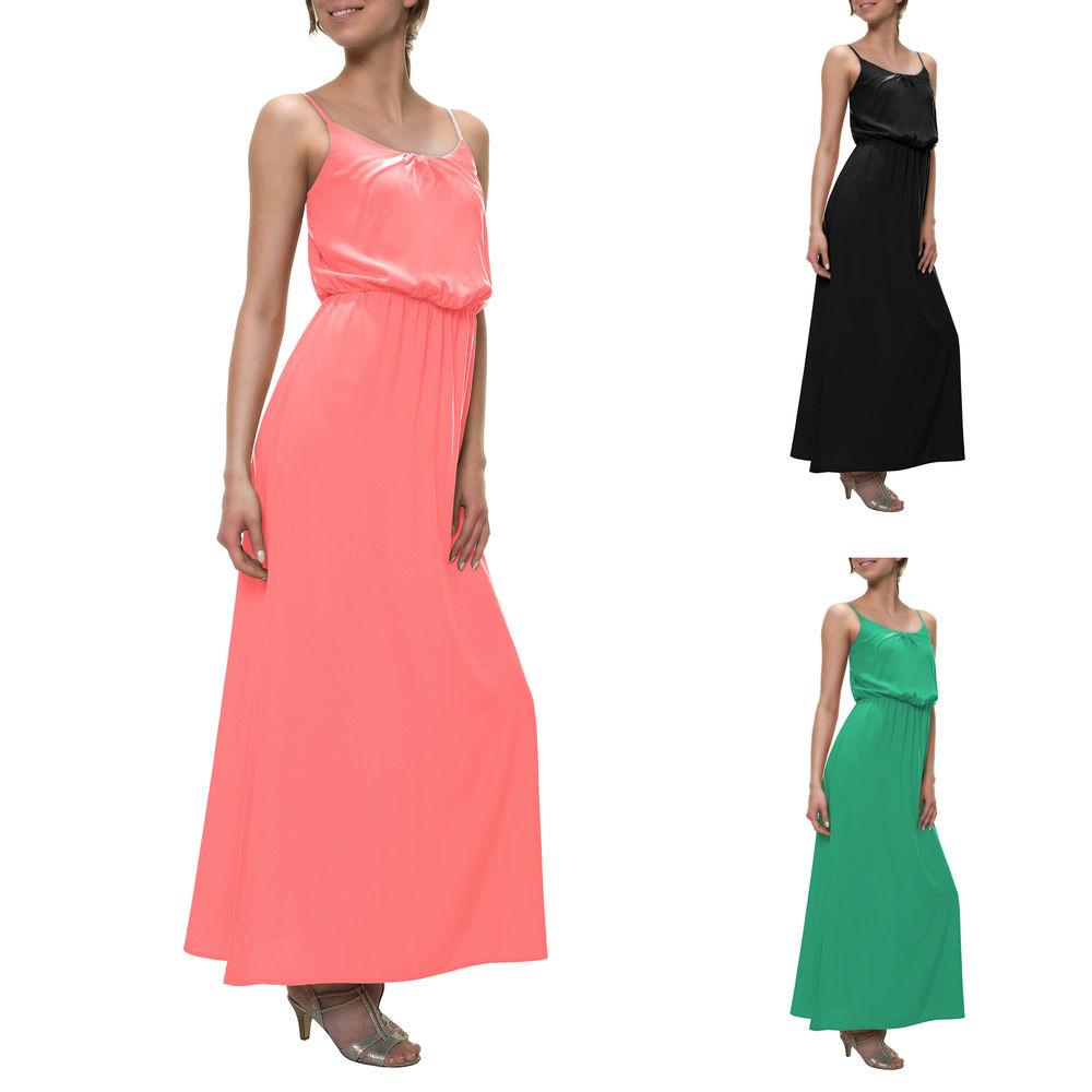 details zu only damen maxikleid trägerkleid slip dress sommerkleid basic  kleid color mix