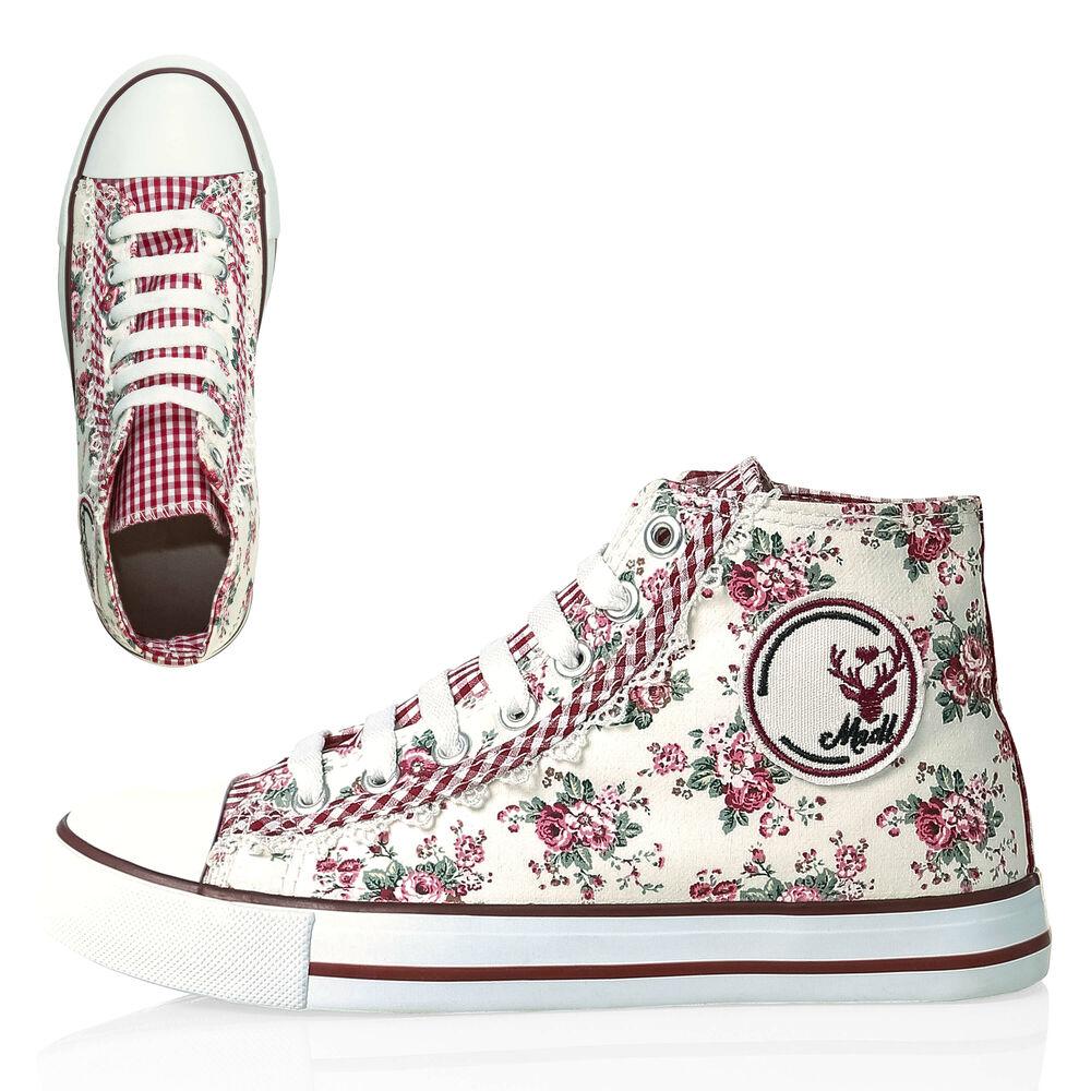 Details zu Hachiro Damen Canvas Sneaker Trachten Look Oktoberfest Damenschuhe Schuhe