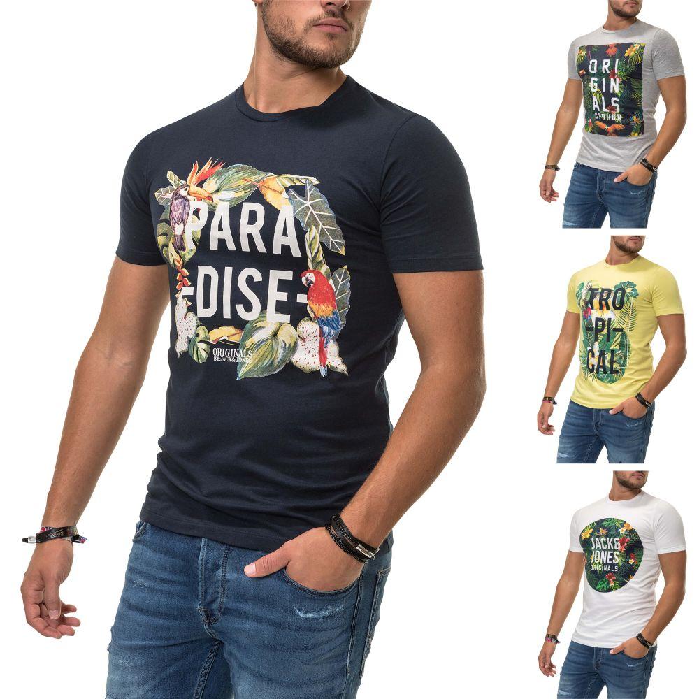 6d706b41076a5b Jack   Jones Herren T-Shirt Print Shirt Sommershirt Casual Trendy ...