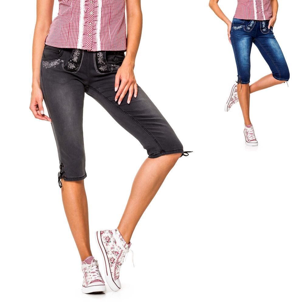 Details zu Hailys Damen Capri Jeans Trachten Hose Lederhose Stretch Casual Oktoberfest