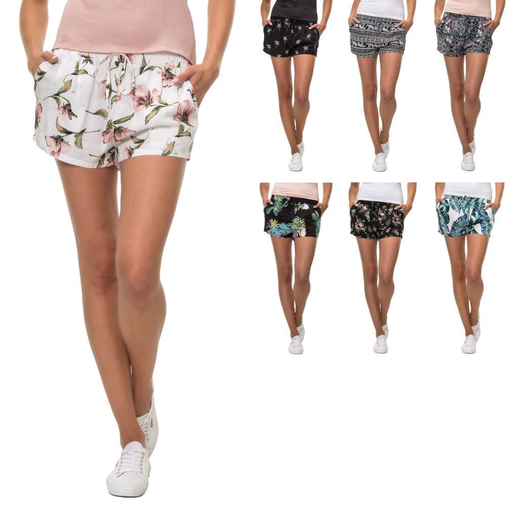 Hailys Damen Sommer Shorts mit Print Bermudas Comfort Fit Color Mix ... de2d737018