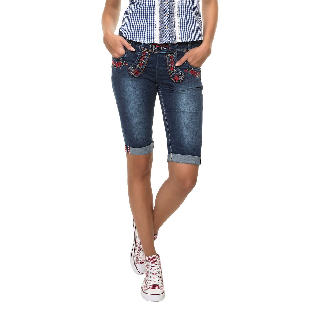 Hailys Damen Trachten Hose Capri Jeans Lederhose Stretch Denim ... 02b23134bf