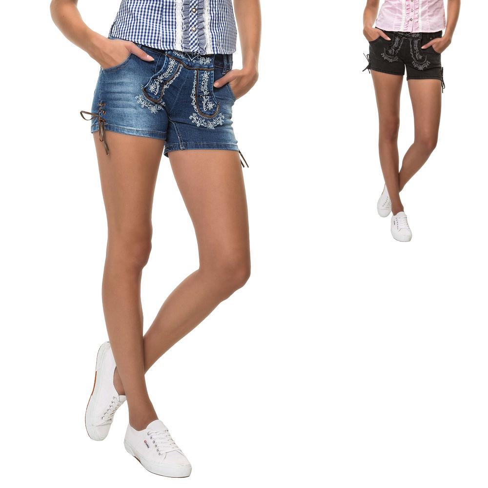 Hailys Damen Trachten Jeans Shorts Lederhose Denim Stretch ... a7b9f23f97