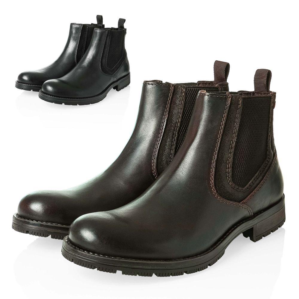 5a284edafa6042 Jack   Jones Herren Chelsea Boots Stiefeletten Echtleder Stiefel ...