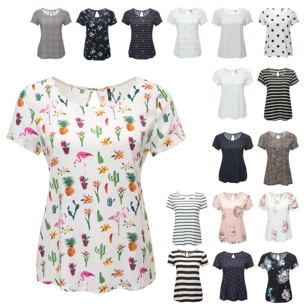 Only Damen Langarmshirt Blusenshirt Shirt Bluse Print Damenshirt Damenbluse Top