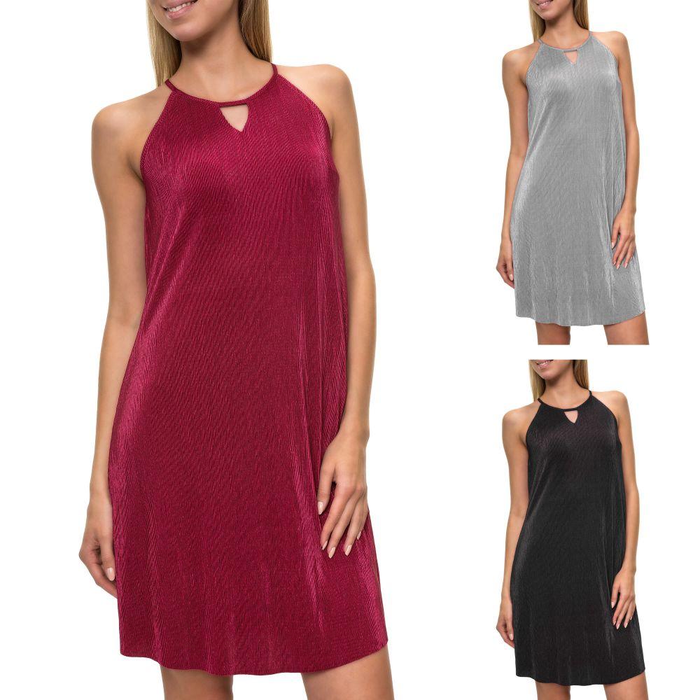 Only Damen Cocktailkleid Abendkleid Neckholder Kleid Plissee Color ... f0a0920139