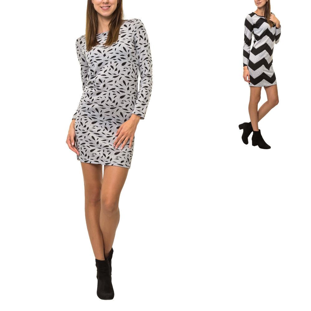 Only Damen Etuikleid mit Streifen Stretchkleid Jerseykleid Figurbetontes Kleid