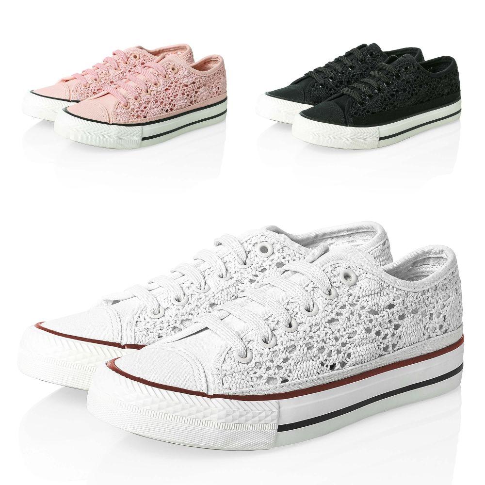 new product acd77 bdd0c Details zu Hailys Damen Sneaker aus Spitze Low Top Canvas Sportschuhe  Schuhe SALE %