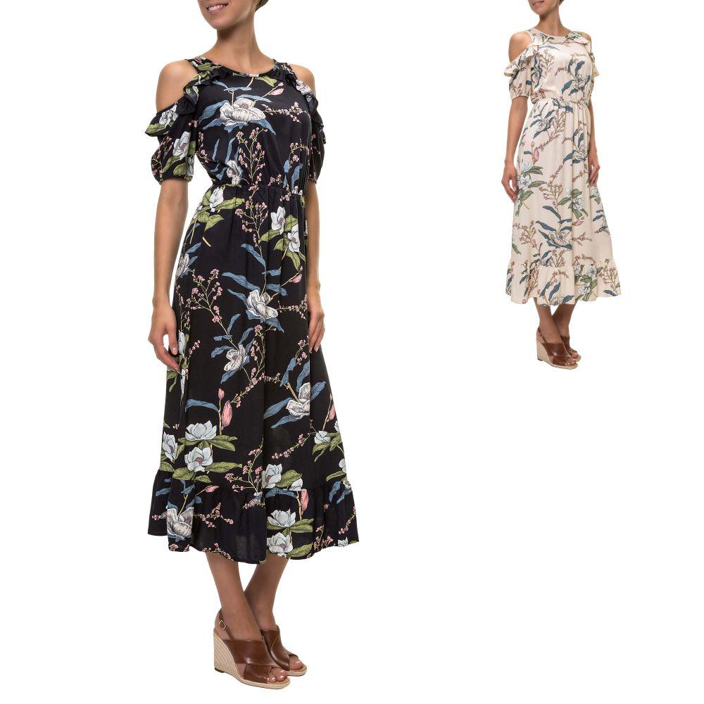 neuer Stil von 2019 wo kann ich kaufen Großhändler Details zu Only Damen Cold Shoulder Kleid Sommerkleid Langes Kleid Maxi  Kleid Color Mix NEU