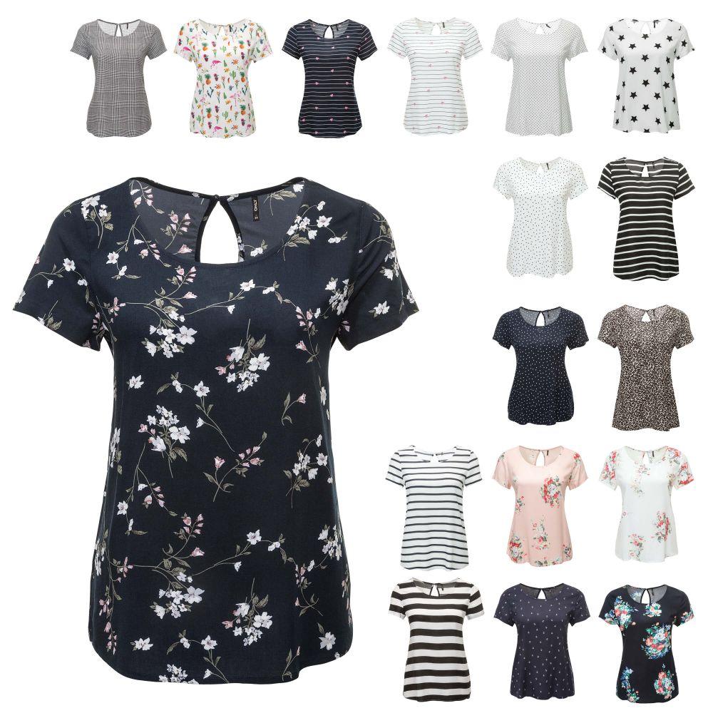 Only Damen T-Shirt Blusenshirt Kurzarmshirt Bluse Basic Damenshirt Sommershirt