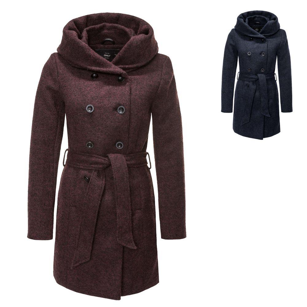Only Damen Wollmantel Trenchcoat Kurzmantel Wintermantel Jacke Color