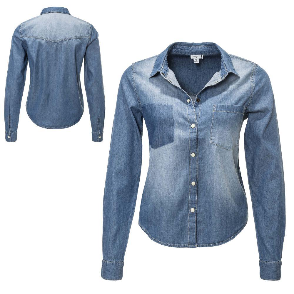Vero Moda Damen Jeansbluse Langarmbluse Hemdbluse Denim Bluse Damenhemd SALE /%