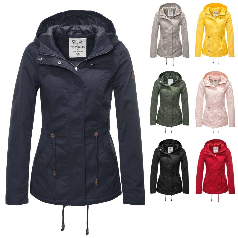 fe6a004bc400 Only Damen Parka Übergangsjacke Kurzmantel Kapuzenjacke Jacke Color ...