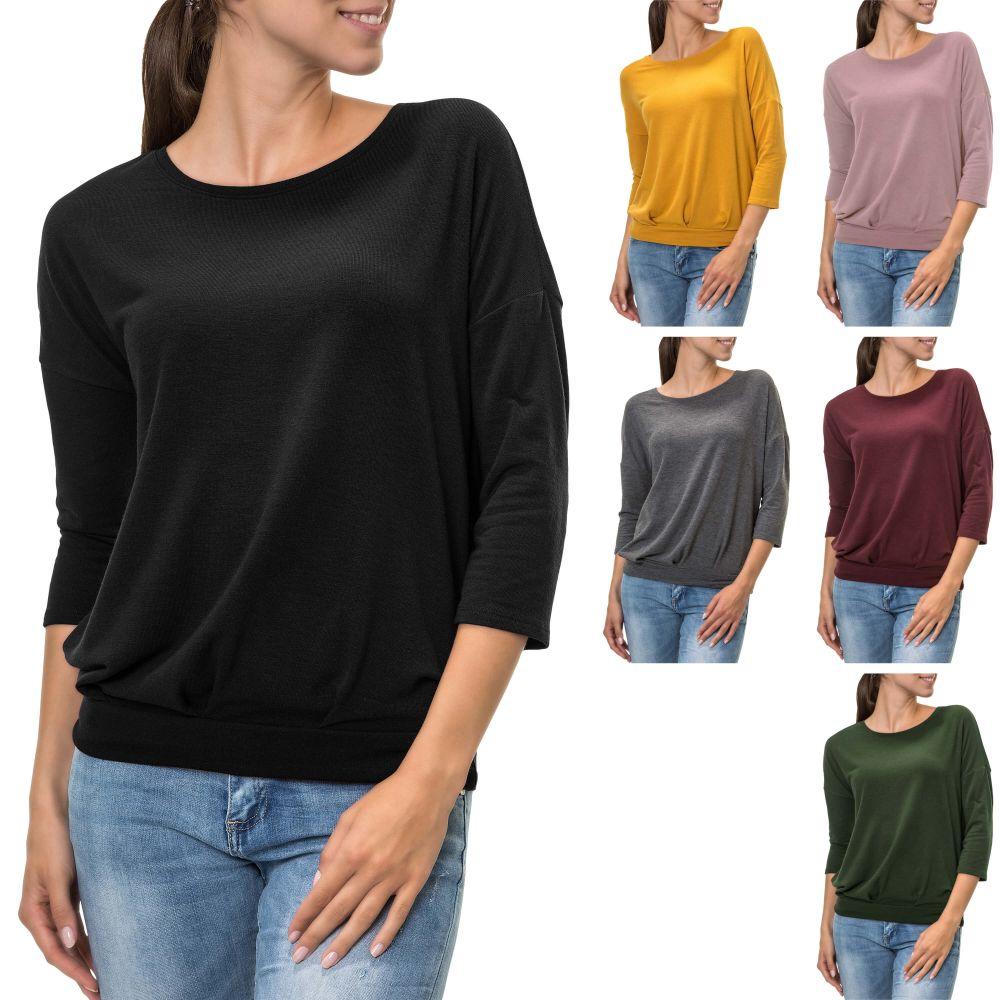 Only Damen Langarmshirt Oversize Look Damenshirt Shirt Stretch Casual Color Mix