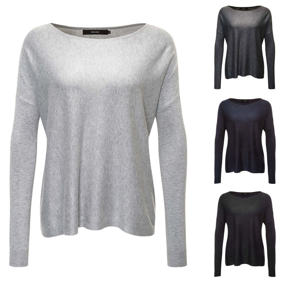 Vero Moda Damen Strickpullover Basic O-Neck Pullover Oversize Look ... b0a3d9b979