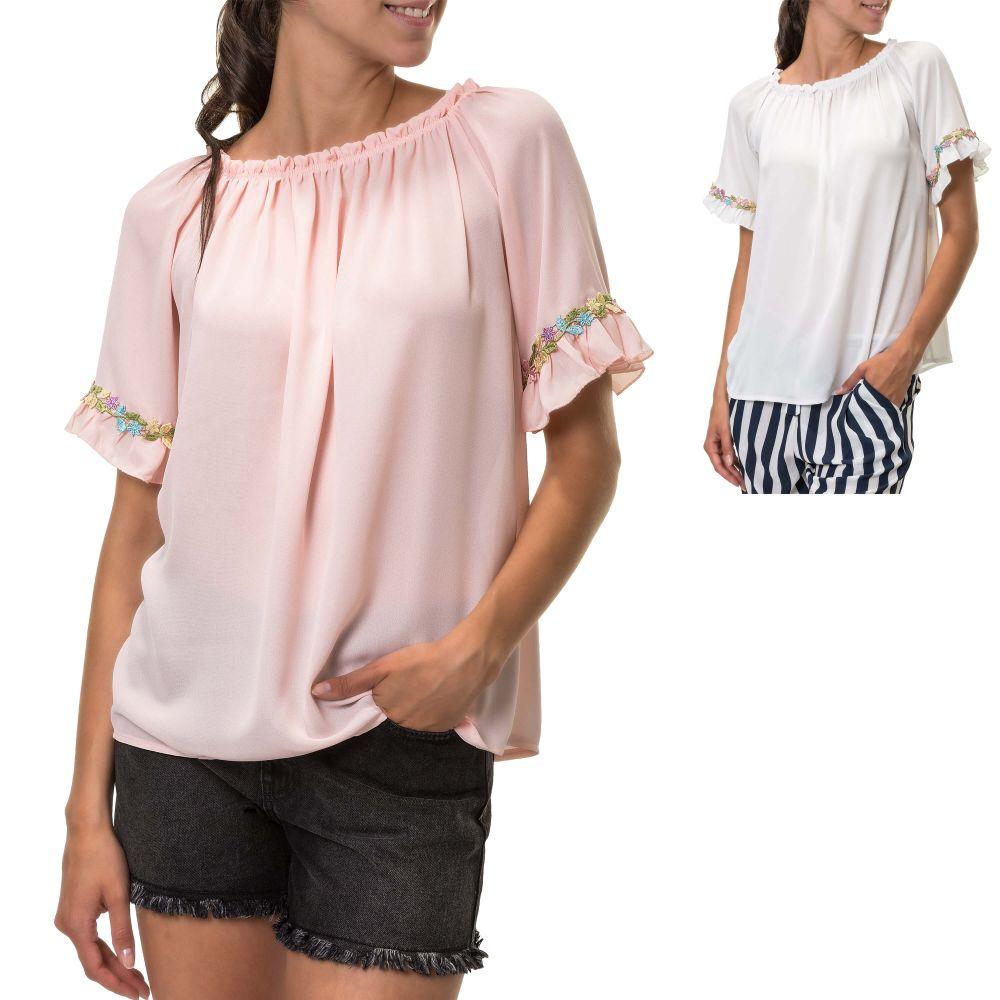 Hachiro Damen Carmenshirt mit Streifen Off-Shoulder Shirt Damenshirt SALE /%