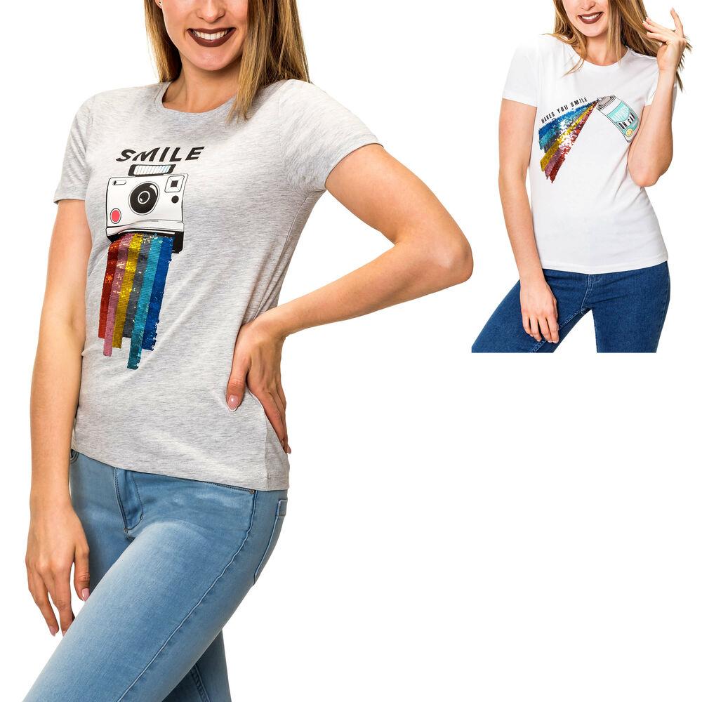 Hailys Damen T-Shirt Print Shirt Damenshirt Kurzarmshirt Sommershirt Jerseyshirt