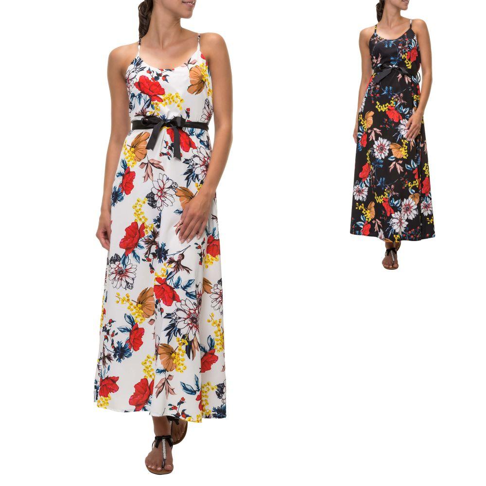 84a632fcc60 Hachiro Damen Maxikleid mit Blumen-Print Trägerkleid Sommerkleid ...