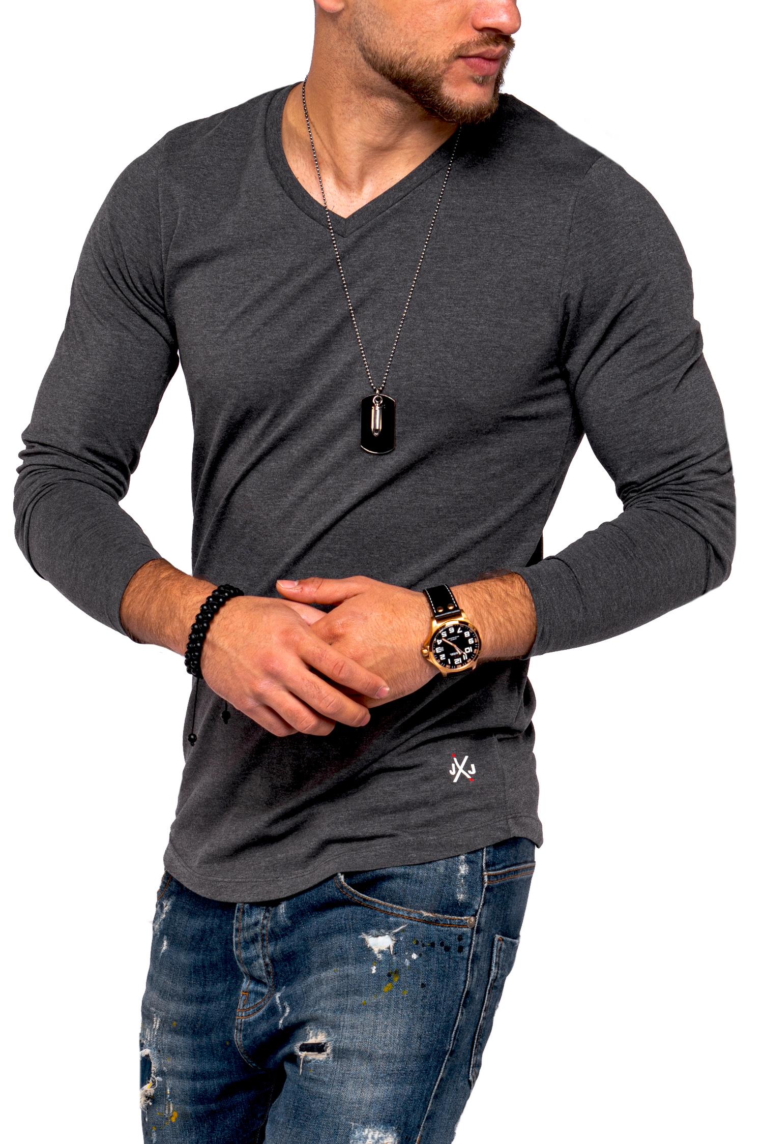 Jack-amp-Jones-Hommes-Chemise-manches-longues-Infinity-Chemise-Longue-V-Neck-T-shirt-Casual-Nouveau miniature 7