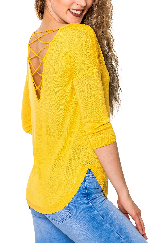 Only Damen Lace-Up Pullover Feinstrick Unifarben Langarmshirt Longsleeve Shirt