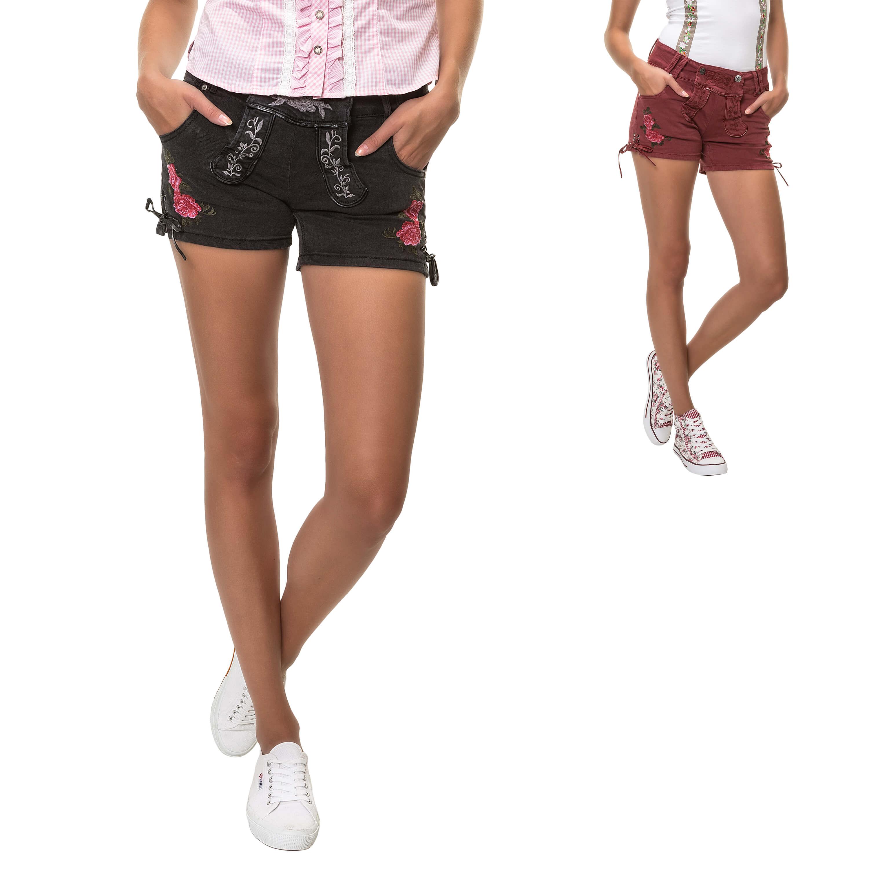 Hailys Damen Trachten Shorts Denim Lederhose Trachtenmode
