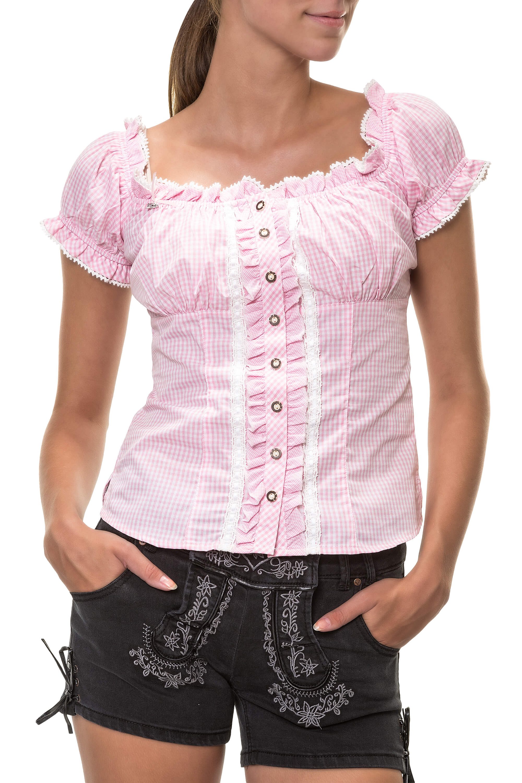 Hailys-Damen-Bluse-Hemdbluse-Trachtenbluse-Rueschenbluse-Oktoberfest-Wiesn