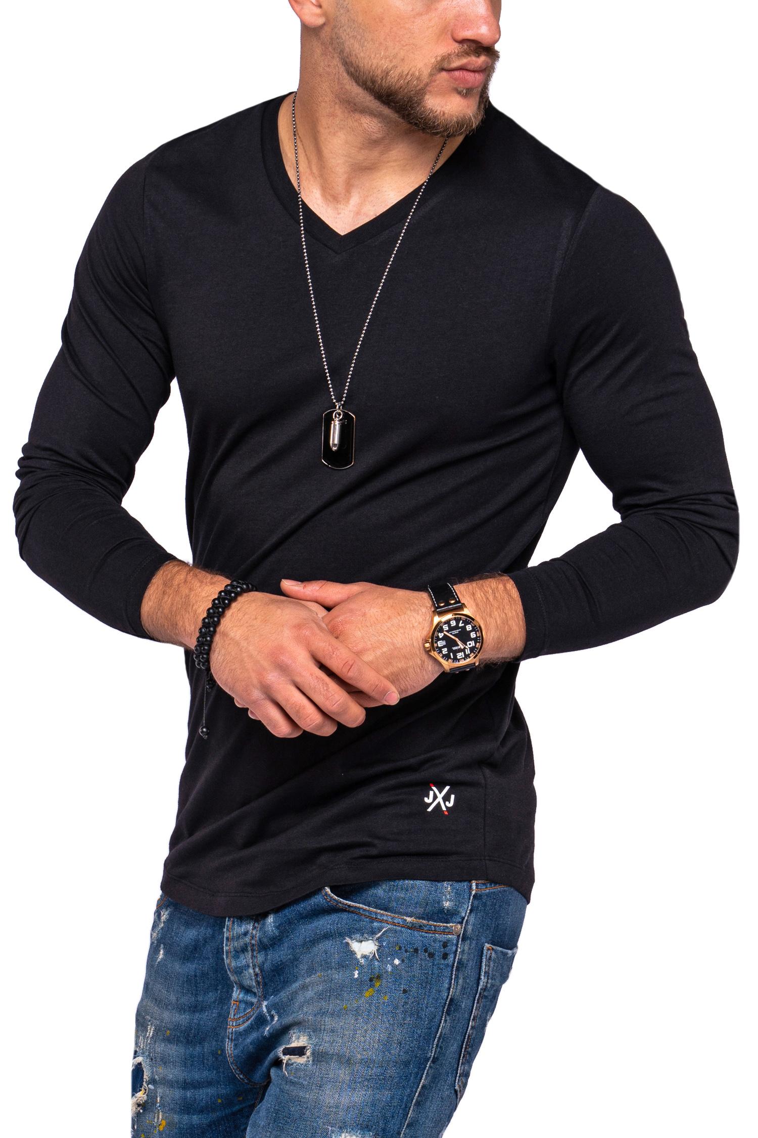 Jack-amp-Jones-Hommes-Chemise-manches-longues-Infinity-Chemise-Longue-V-Neck-T-shirt-Casual-Nouveau miniature 3