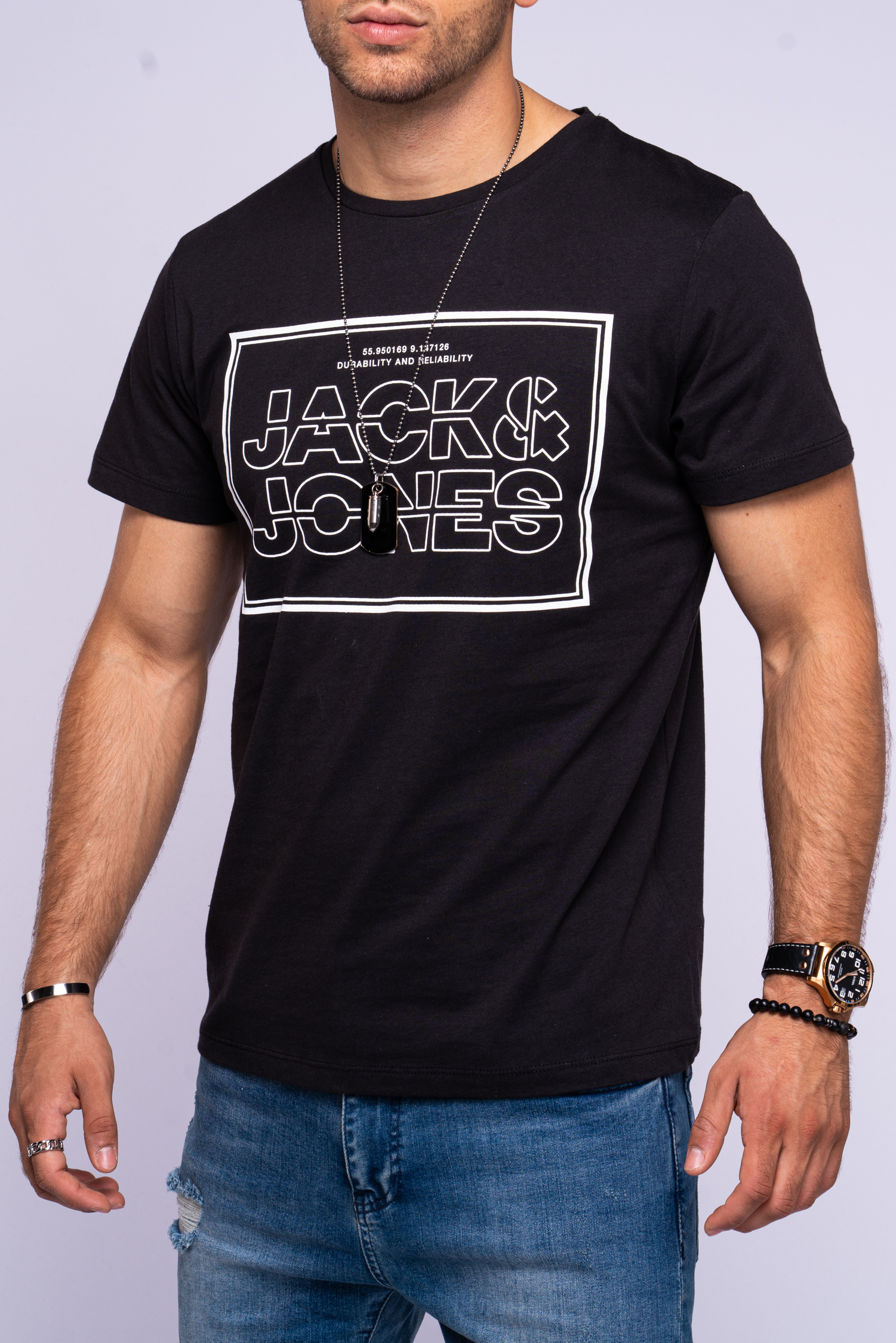 Jack-amp-Jones-T-shirt-Hommes-Logo-Print-manches-courtes-Shirt-Casual-Streetwear-shirt-Top miniature 3