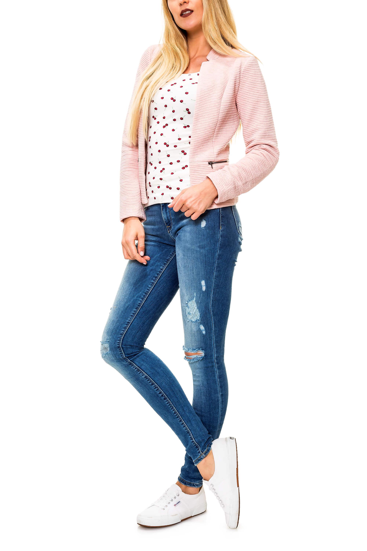 Only Damen Tank Top Basic Shirt T-Shirt Stretch O-Neck Print Longtop Longshirt