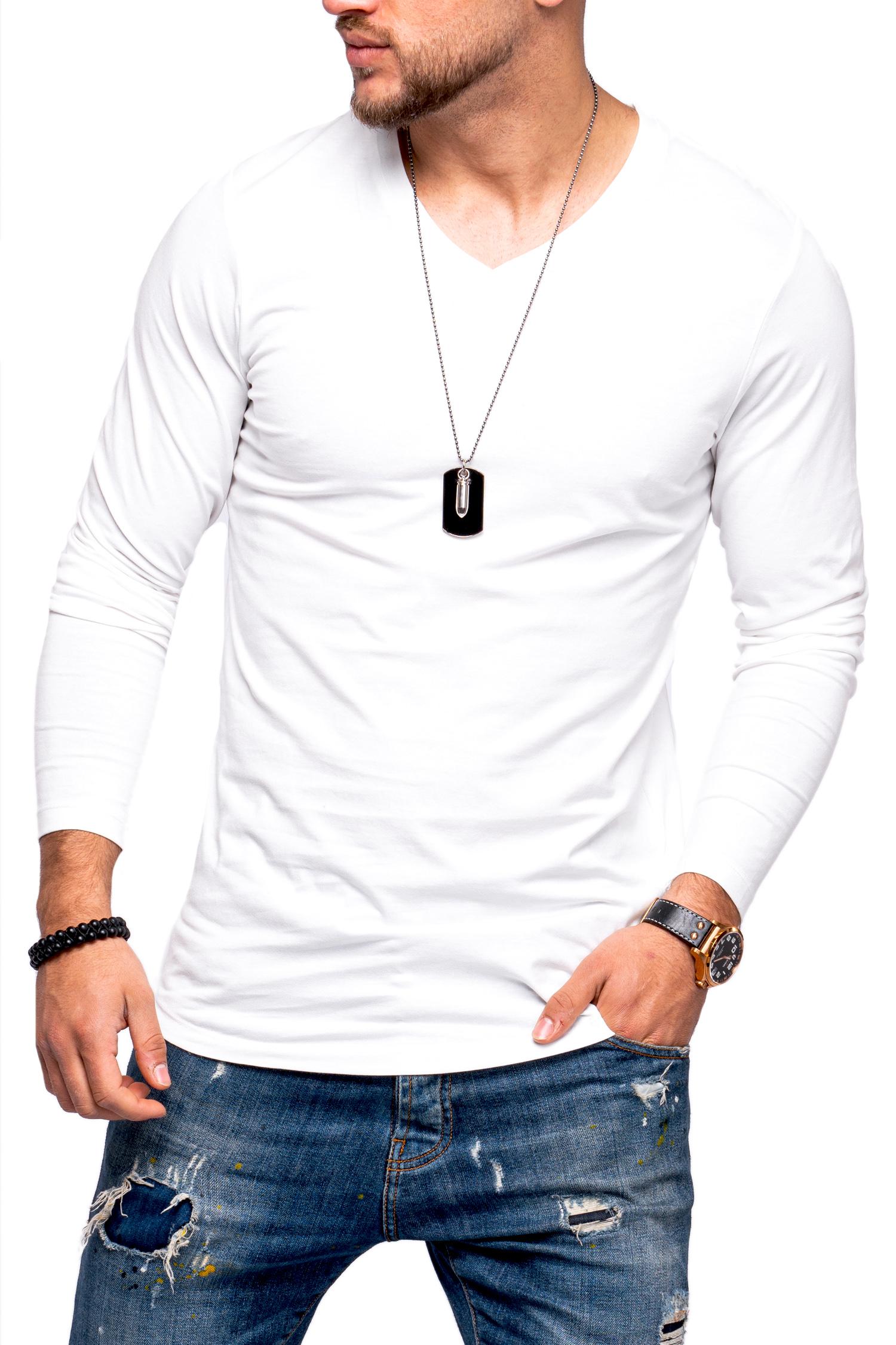 Jack-amp-Jones-Hommes-Chemise-manches-longues-Infinity-Chemise-Longue-V-Neck-T-shirt-Casual-Nouveau miniature 13