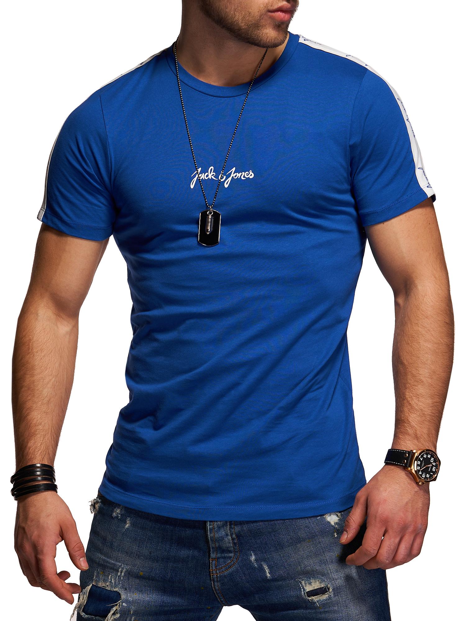 Jack-amp-Jones-T-Shirt-Hommes-Manches-Courtes-Shirt-HOMME-Shirt-Shirt-Basic-Casual-Print miniature 7