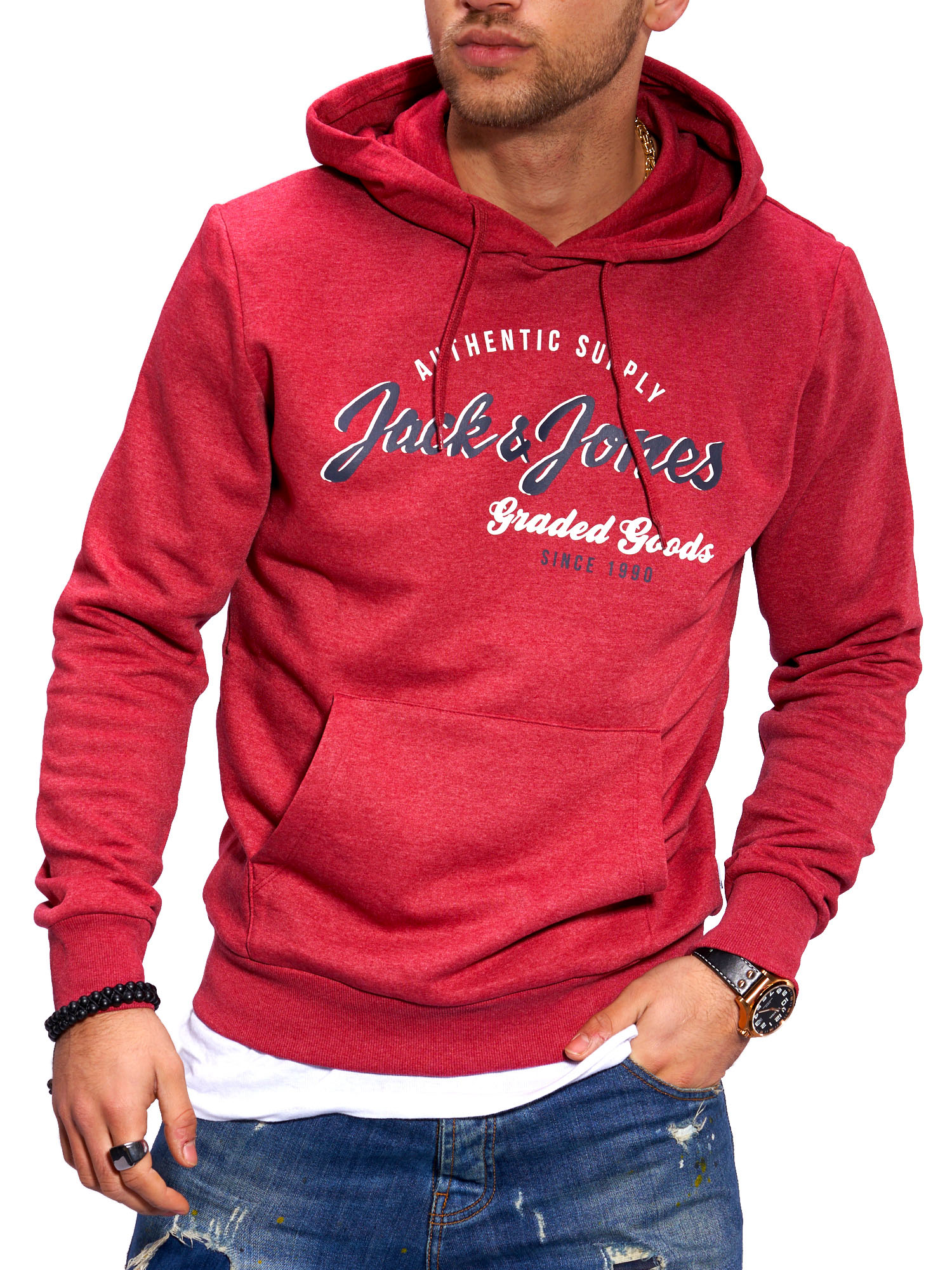 Jack-amp-Jones-senores-Hoodie-sudaderas-con-Print-Sweater-sueter-Streetwear miniatura 9