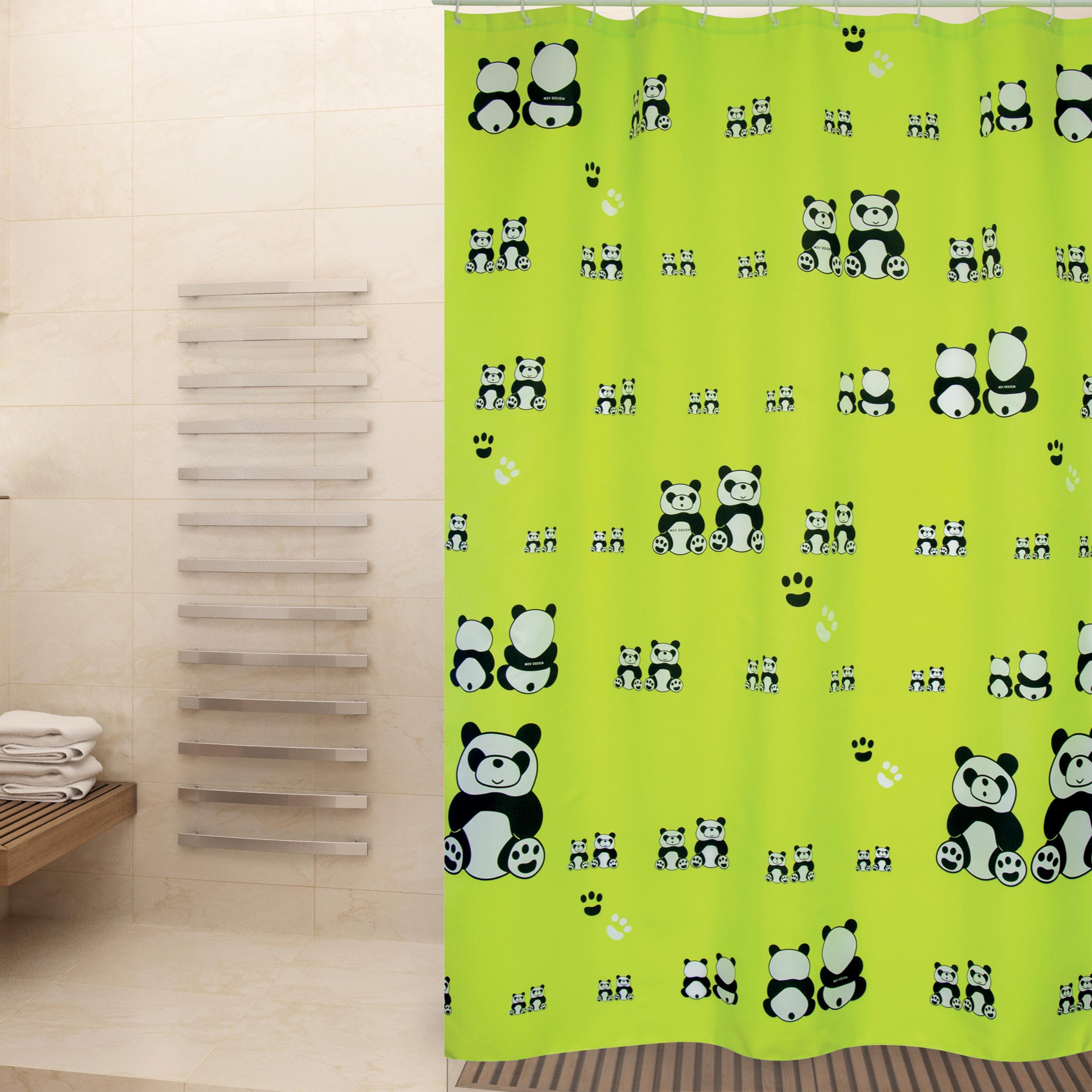 MSV Duschvorhang 180x200cm Anti Schimmel Textil Badewannenvorhang Wannenvorhang Panda