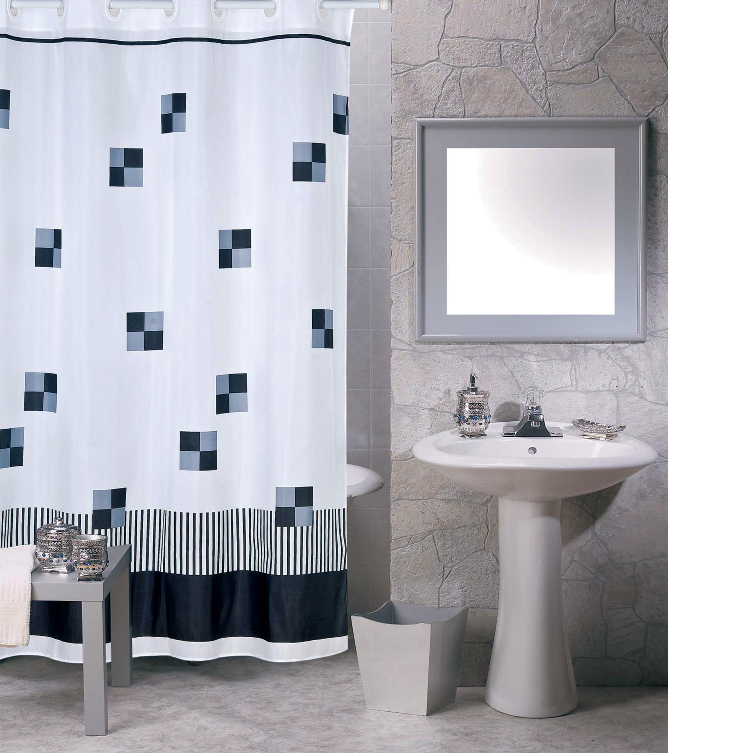 MSV Duschvorhang 180x200cm Anti Schimmel Textil Badewannenvorhang Wannenvorhang Quadrat2