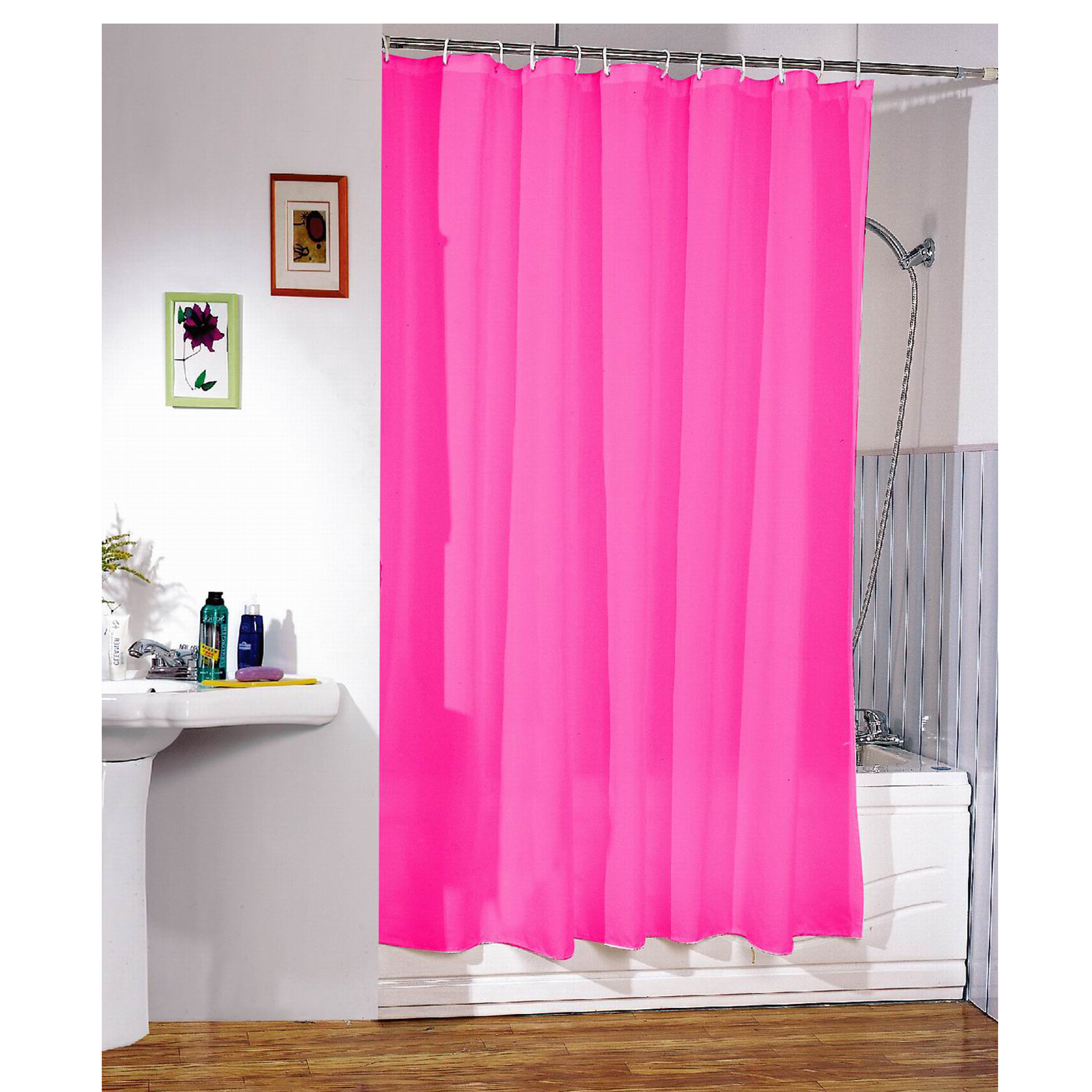 MSV Duschvorhang 180x200cm Anti Schimmel Textil Badewannenvorhang Wannenvorhang Pink
