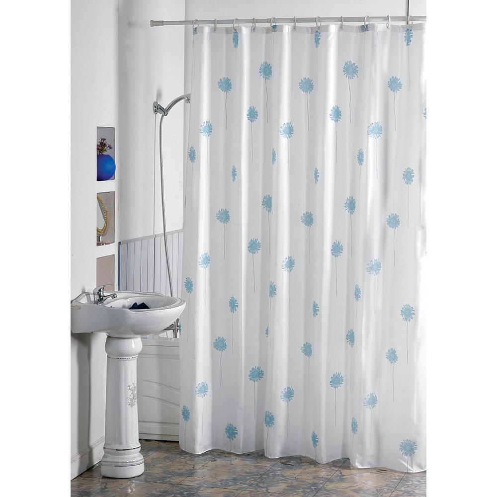 MSV Duschvorhang 180x200cm Anti Schimmel Textil Badewannenvorhang Wannenvorhang Blumen Blau