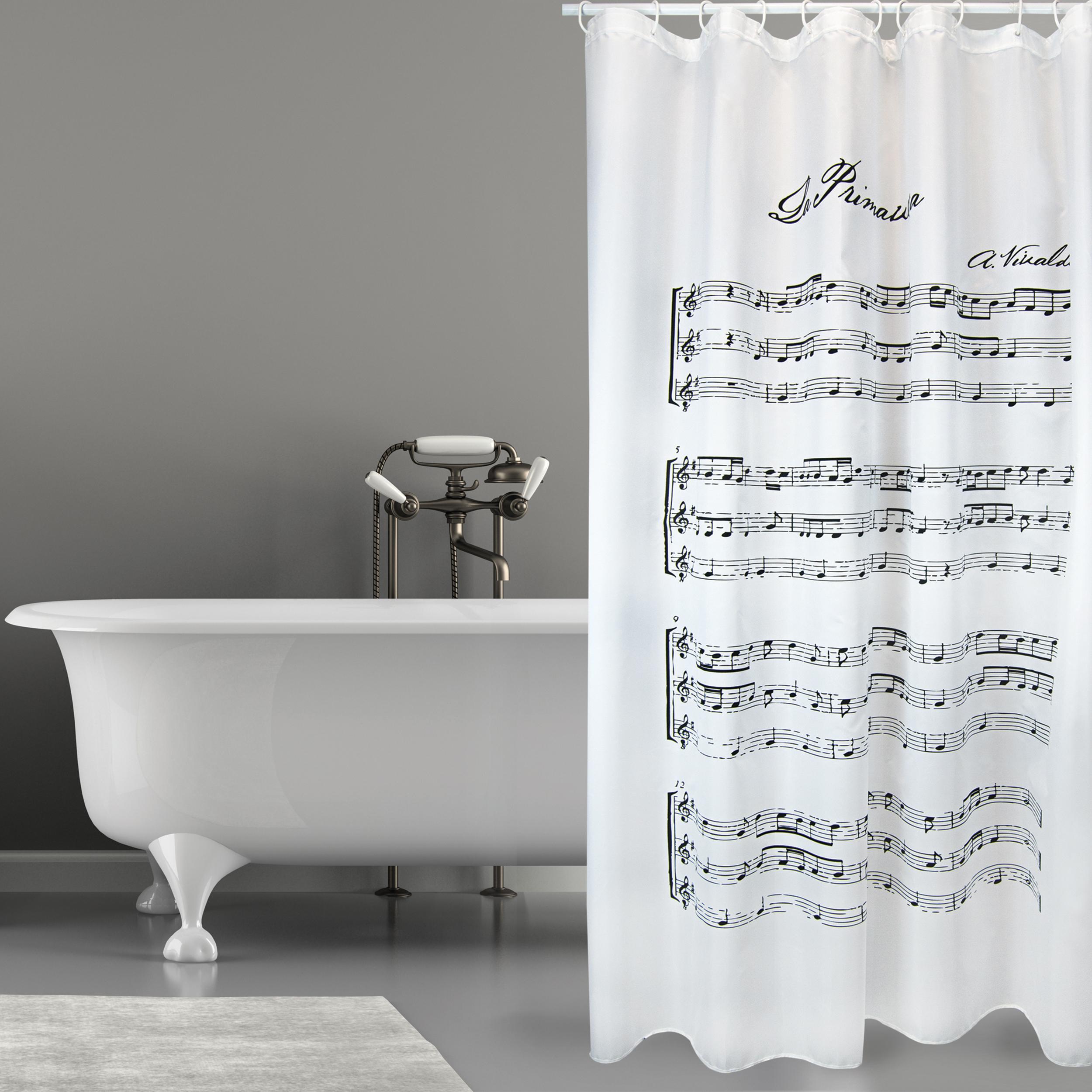 MSV Duschvorhang 180x200cm Anti Schimmel Textil Badewannenvorhang Wannenvorhang Vivaldi Weiß