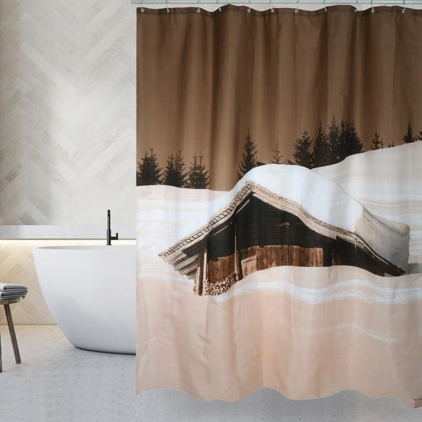 MSV Duschvorhang 180x200cm Anti Schimmel Textil Badewannenvorhang Wannenvorhang Schnee Haus