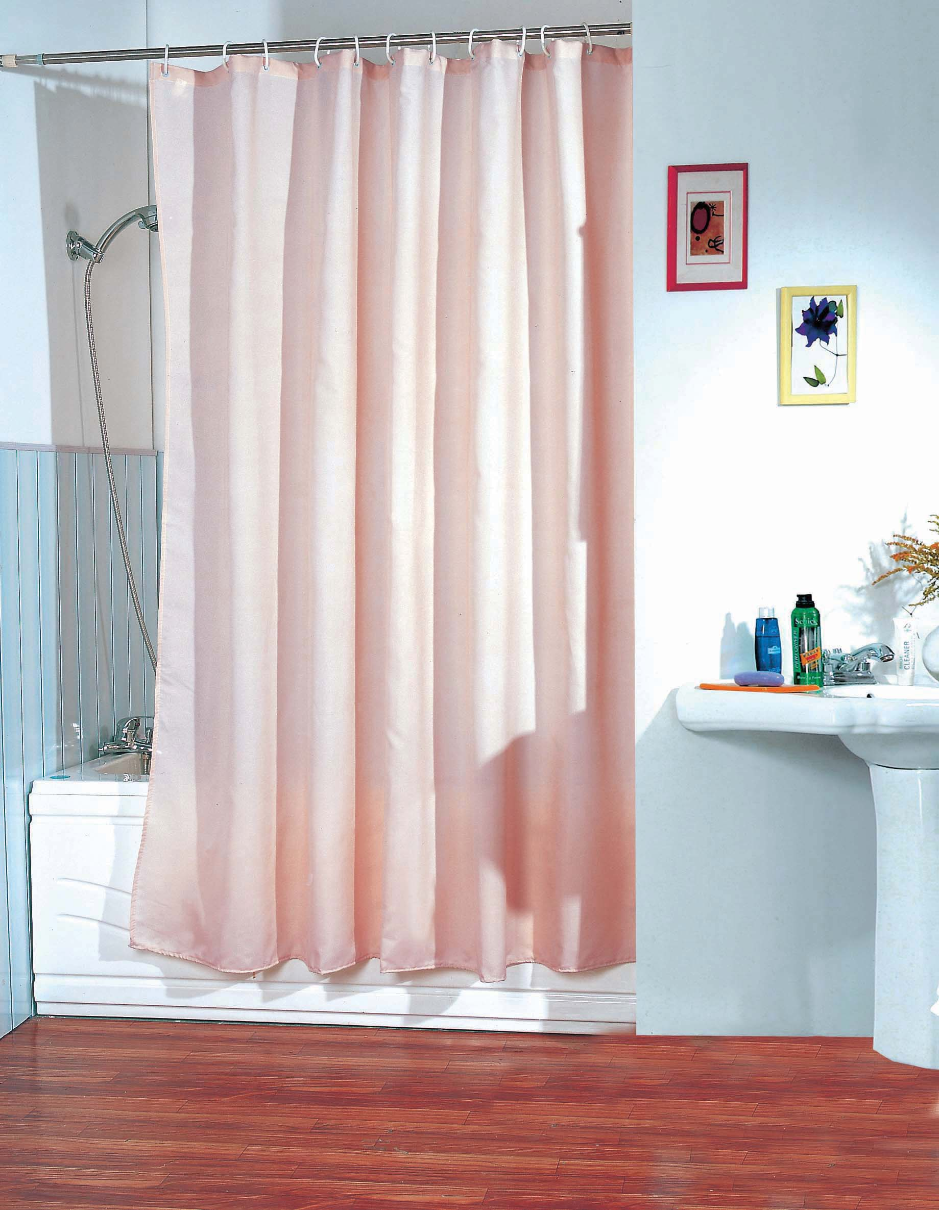 MSV Duschvorhang 180x200cm Anti Schimmel Textil Badewannenvorhang Wannenvorhang Lachs